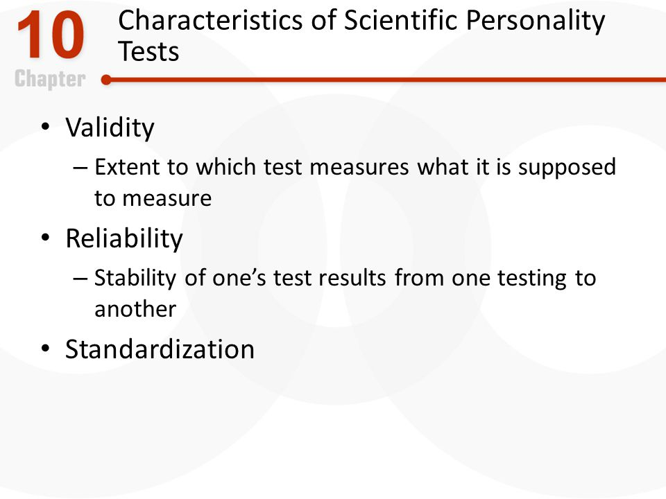 Characteristics of Scientific Personality Tests