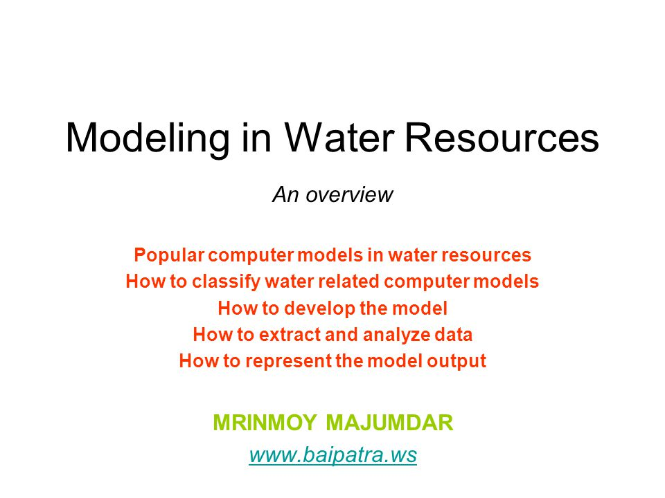 Modeling in Water Resources