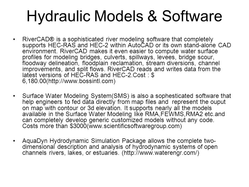 Hydraulic Models & Software