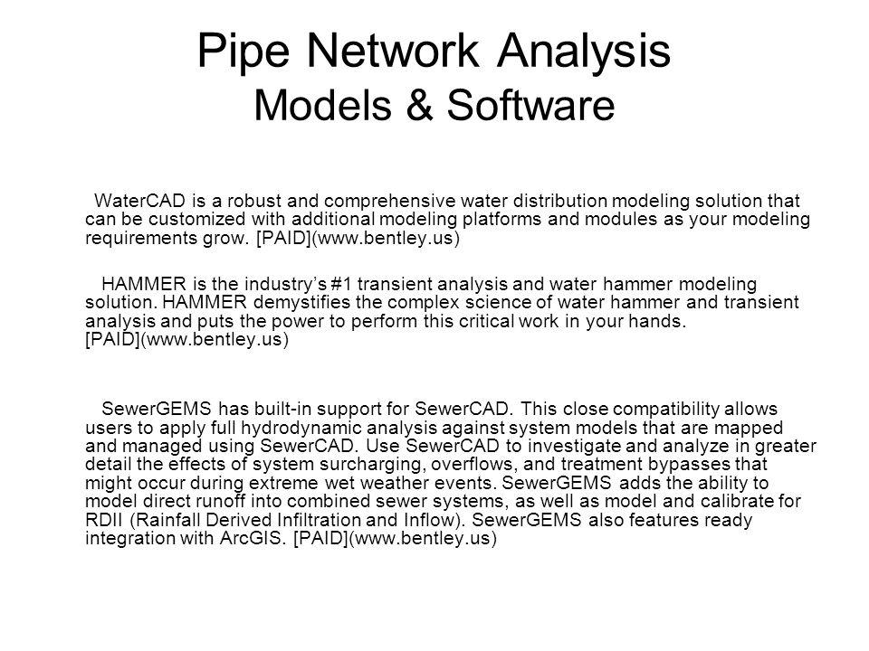 Pipe Network Analysis Models & Software