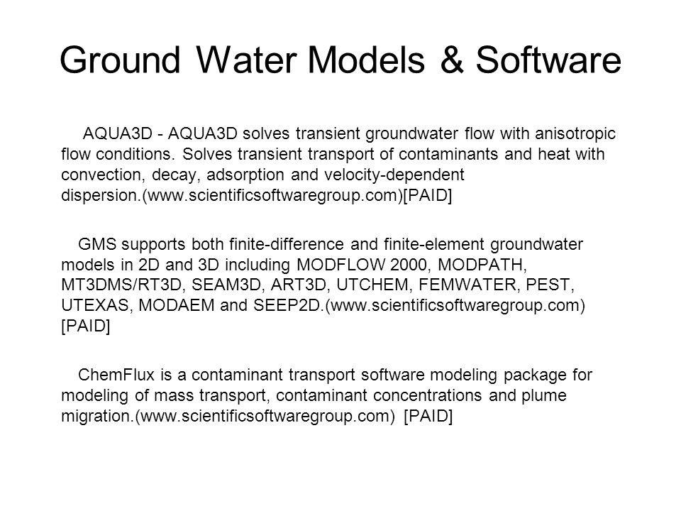Ground Water Models & Software