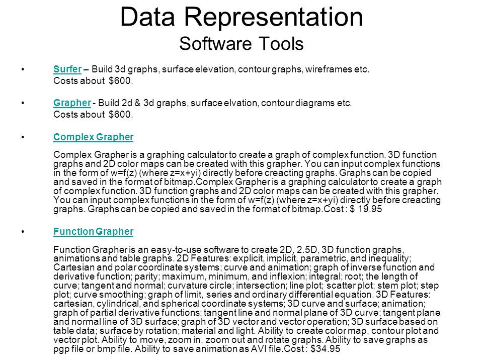 Data Representation Software Tools