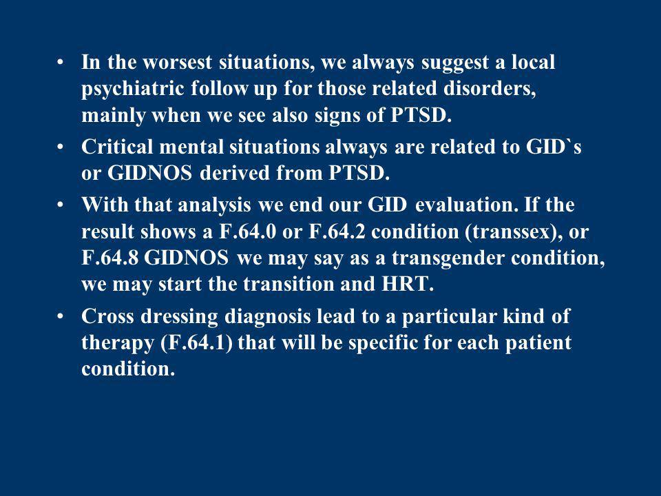 In the worsest situations, we always suggest a local psychiatric follow up for those related disorders, mainly when we see also signs of PTSD.