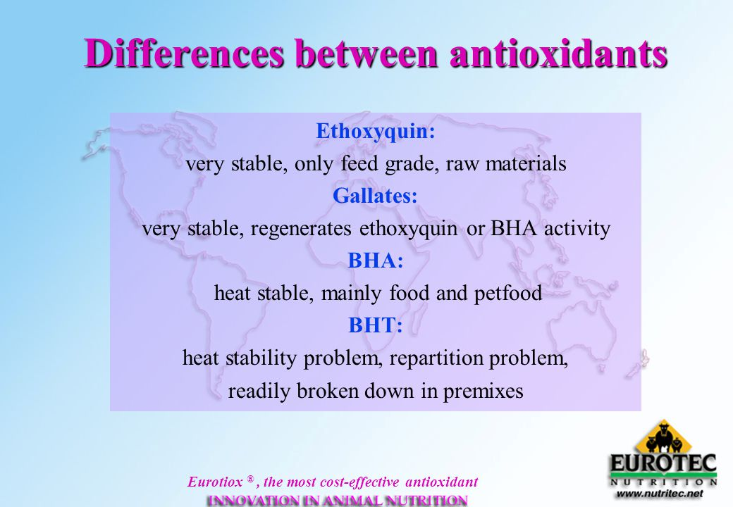 Differences between antioxidants