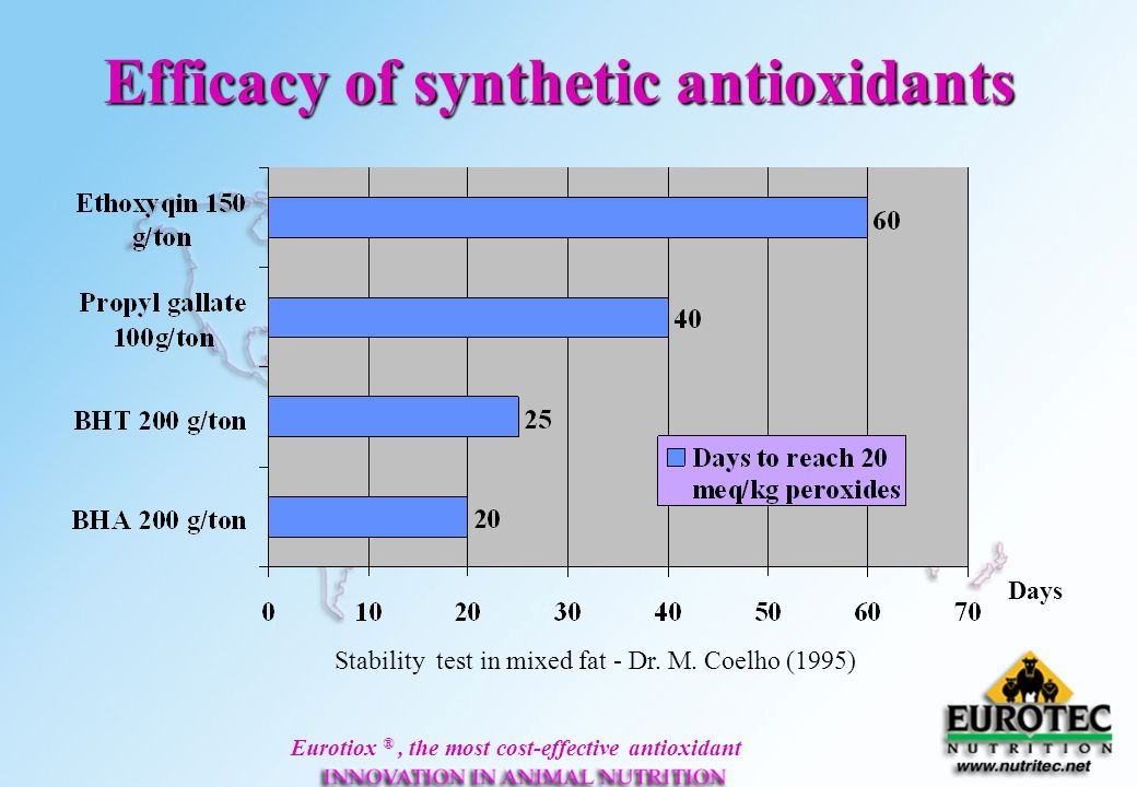 Efficacy of synthetic antioxidants