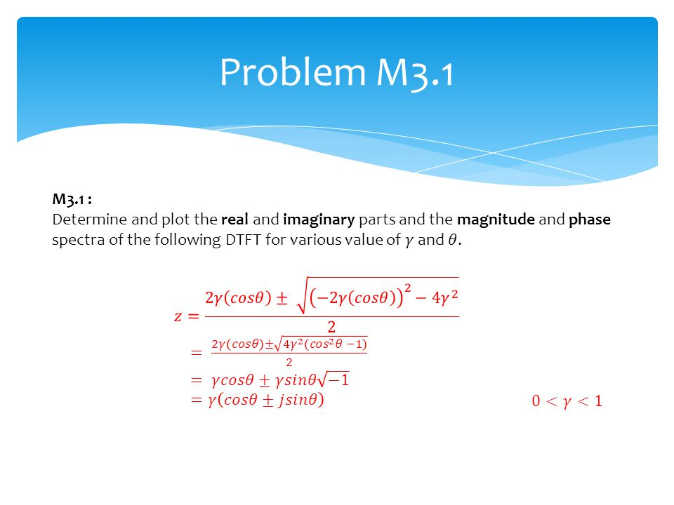 Problem M3.1 M3.1 :