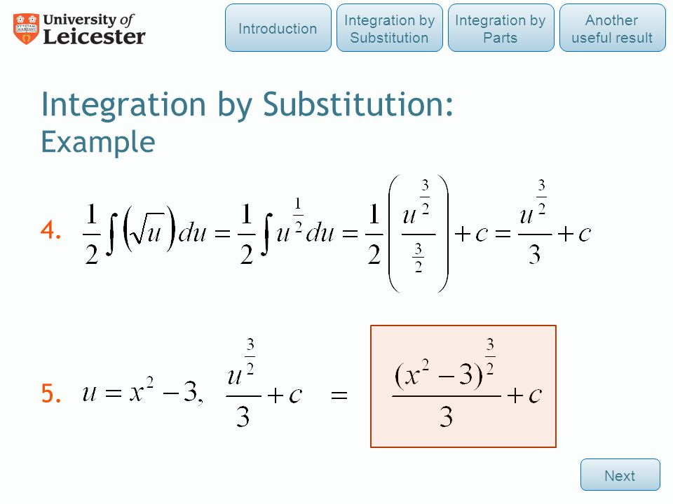 Integration by Substitution: Example