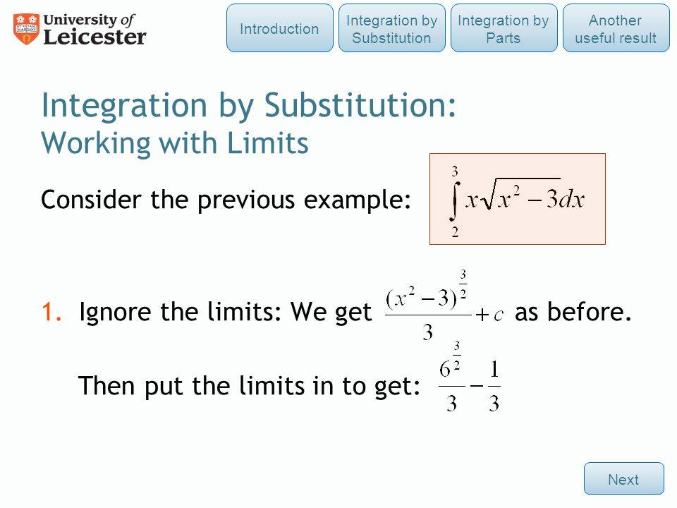 Integration by Substitution: Working with Limits