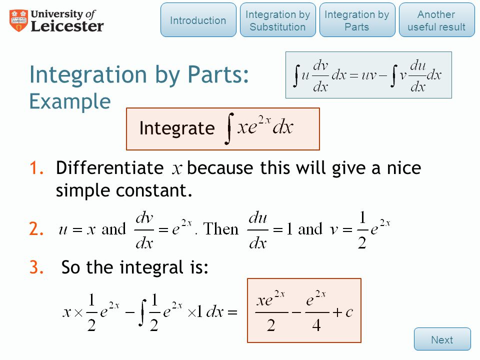 Integration by Parts: Example