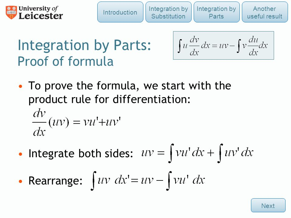 Integration by Parts: Proof of formula