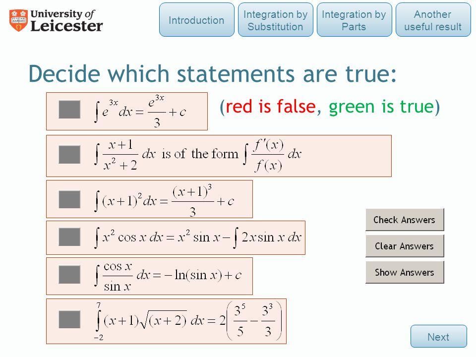 Decide which statements are true: