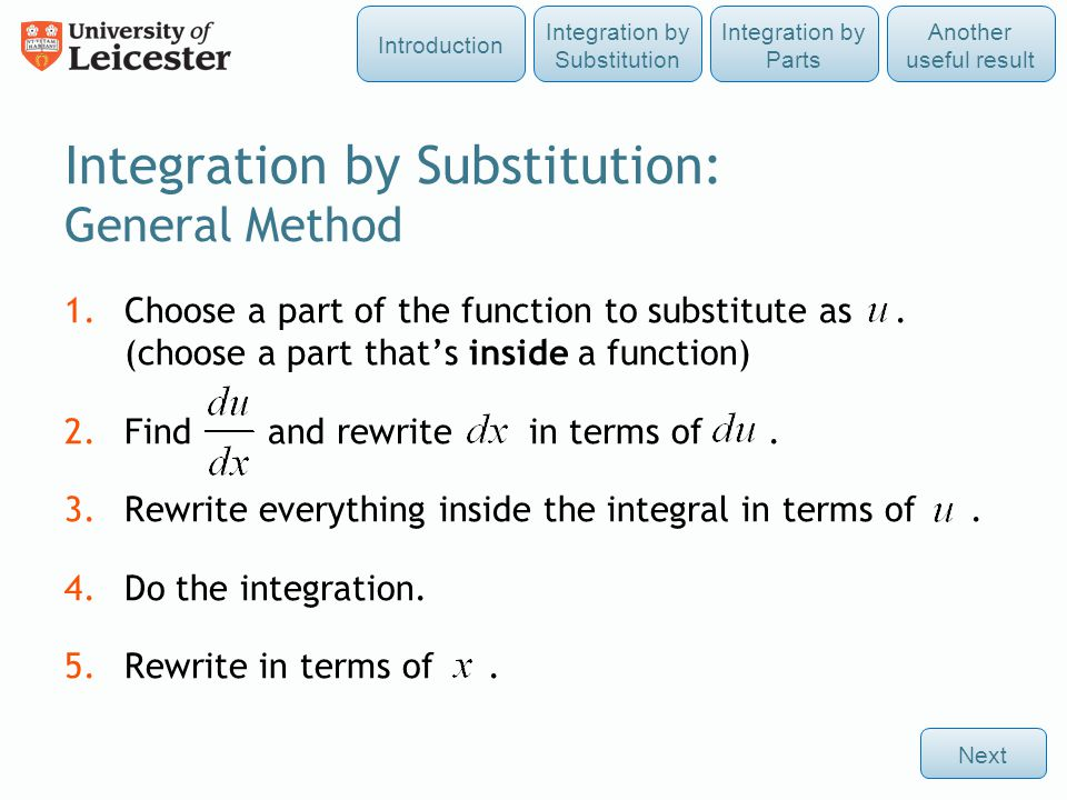 Integration by Substitution: General Method