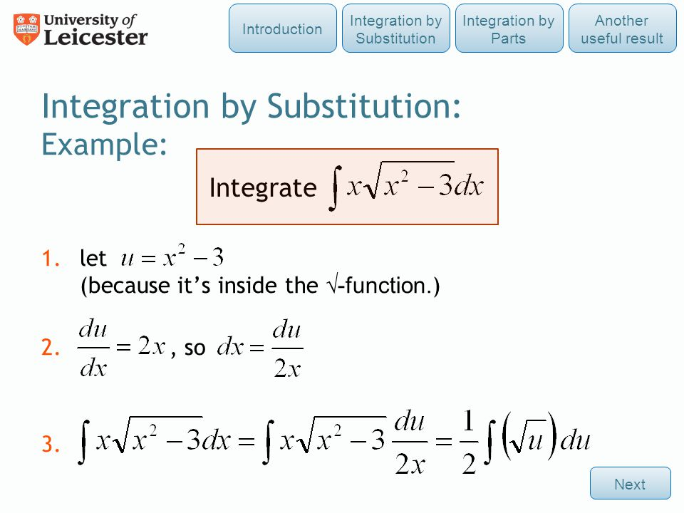 Integration by Substitution: Example: