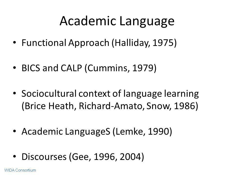 Academic Language Functional Approach (Halliday, 1975)