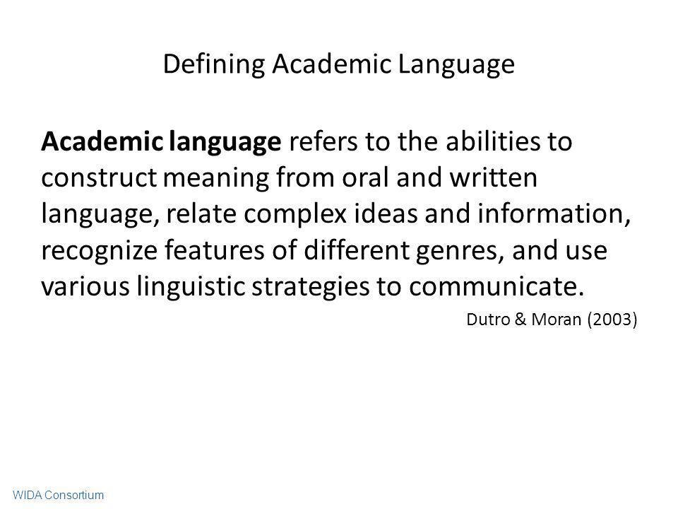 Defining Academic Language