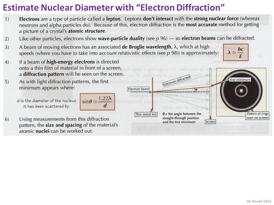 Estimate Nuclear Diameter with Electron Diffraction