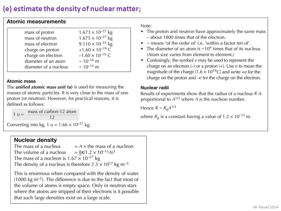 (e) estimate the density of nuclear matter;