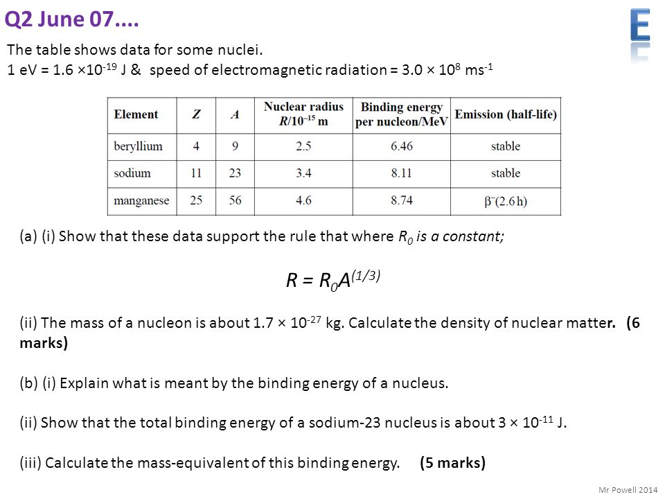 E Q2 June 07.... R = R0A(1/3) The table shows data for some nuclei.