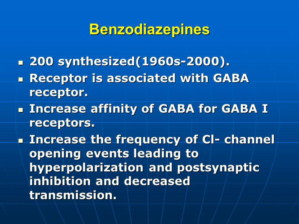 Benzodiazepines 200 synthesized(1960s-2000).