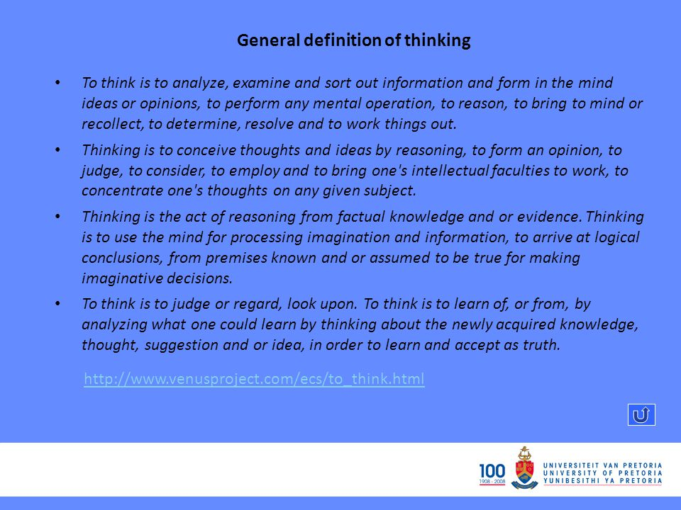General definition of thinking