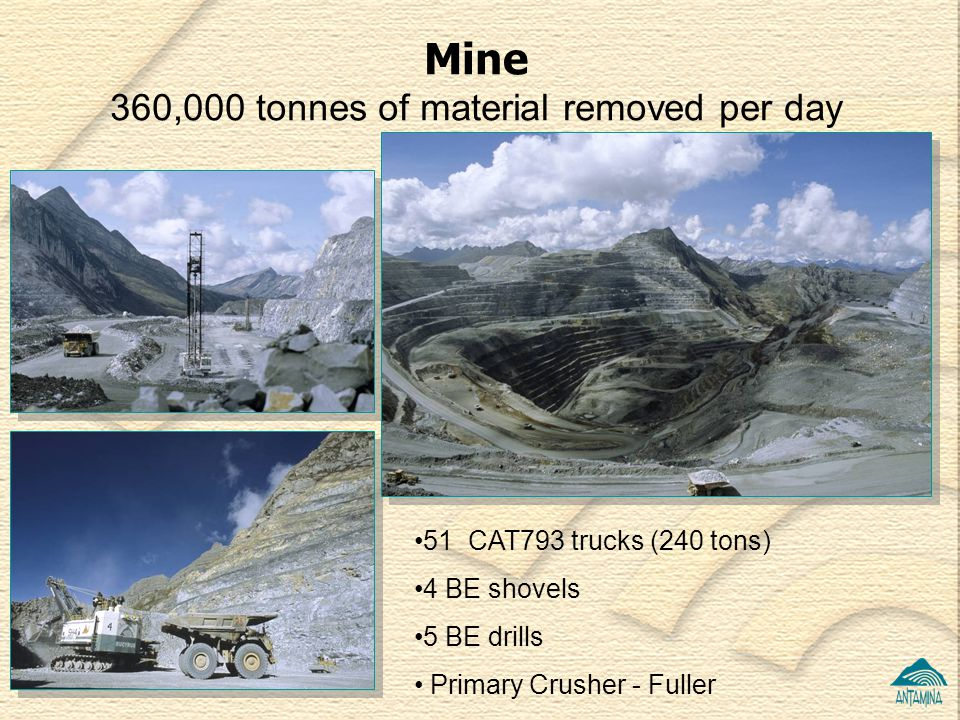 360,000 tonnes of material removed per day