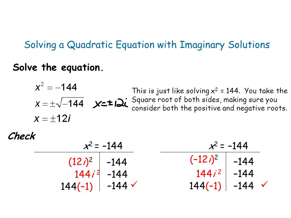 Solving a Quadratic Equation with Imaginary Solutions