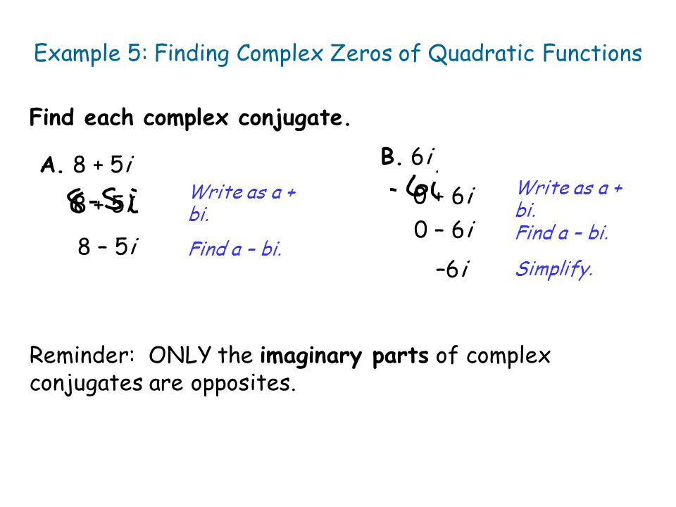 Example 5: Finding Complex Zeros of Quadratic Functions
