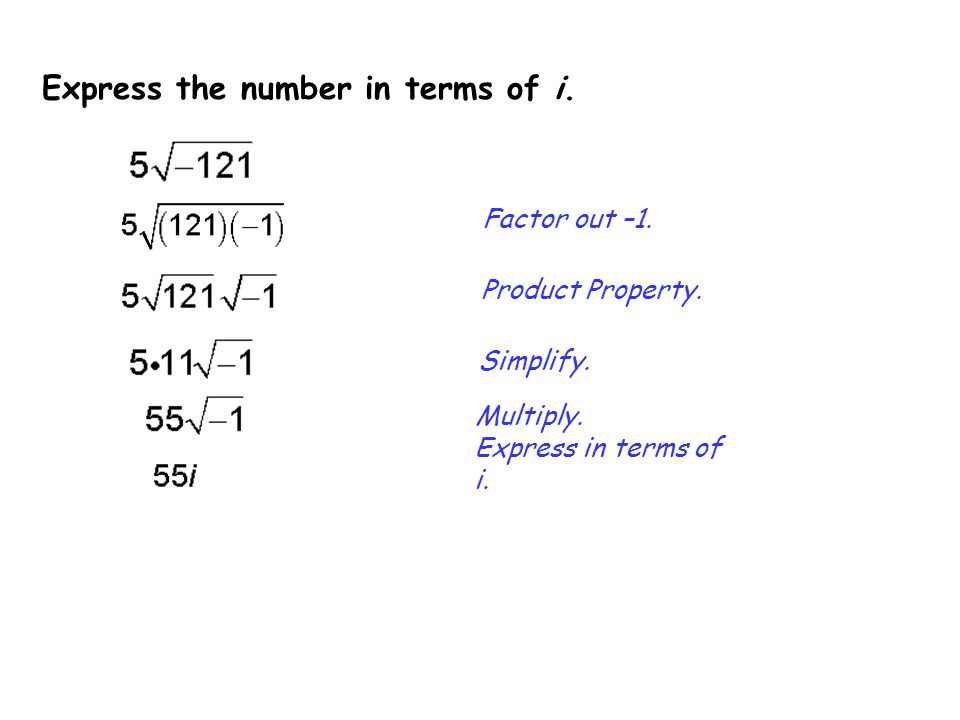 Express the number in terms of i.