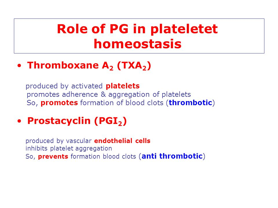 Role of PG in plateletet homeostasis