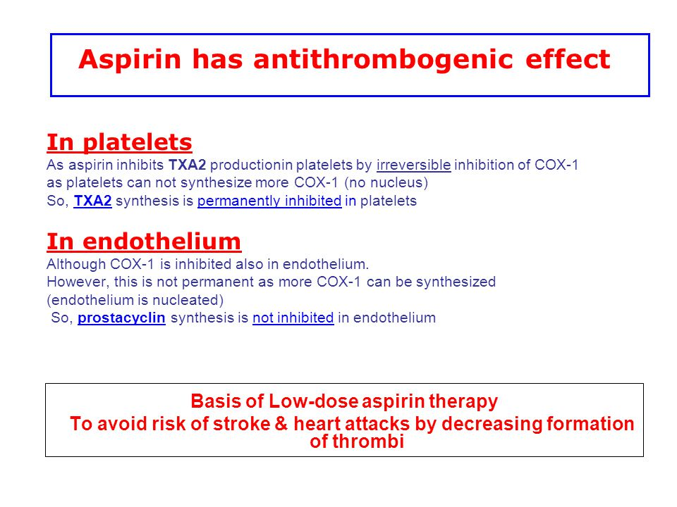 Aspirin has antithrombogenic effect Basis of Low-dose aspirin therapy