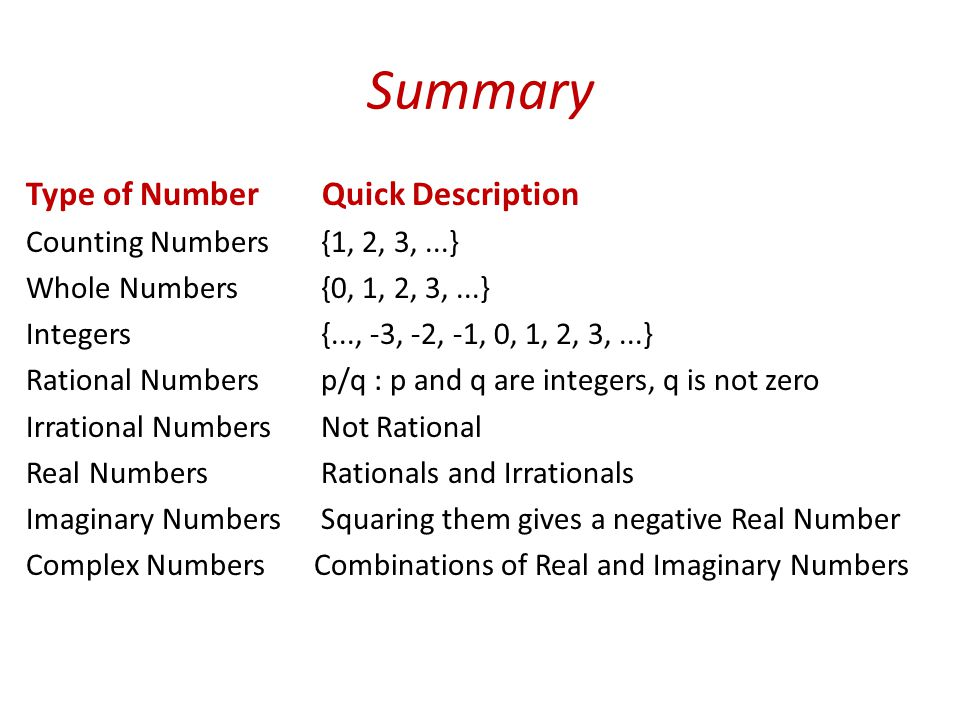 Summary Type of Number Quick Description