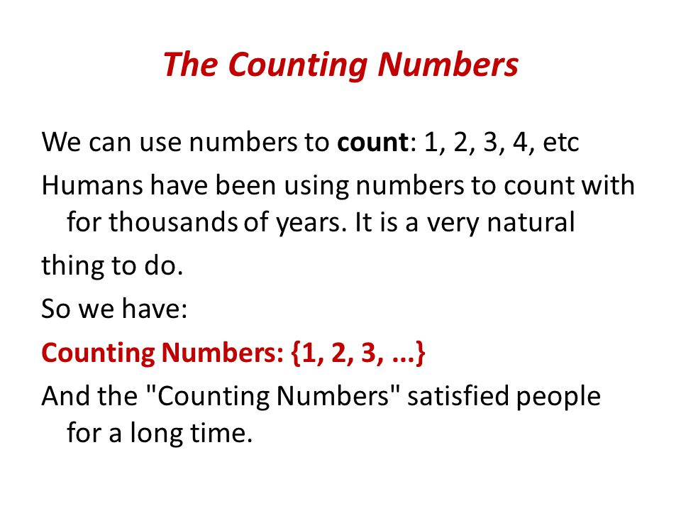 The Counting Numbers
