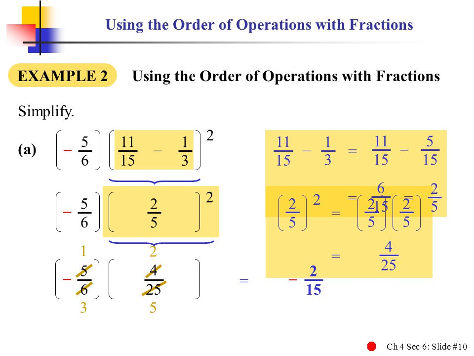 Using the Order of Operations with Fractions