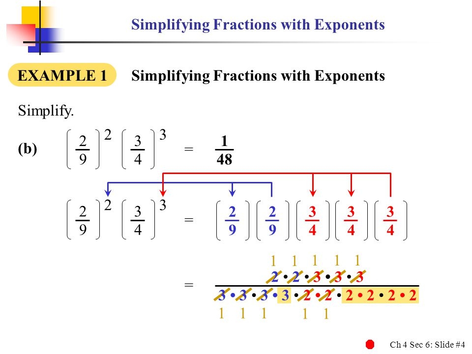 Simplifying Fractions with Exponents