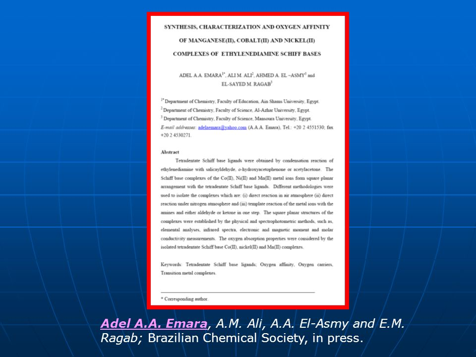 Adel A. A. Emara, A. M. Ali, A. A. El-Asmy and E. M