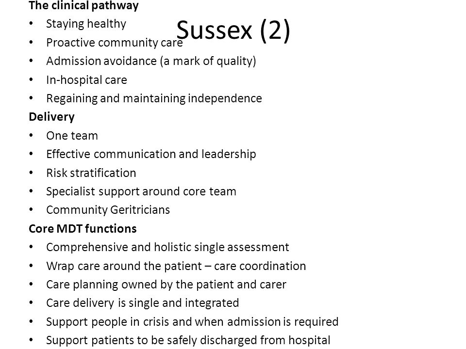 Sussex (2) The clinical pathway Staying healthy