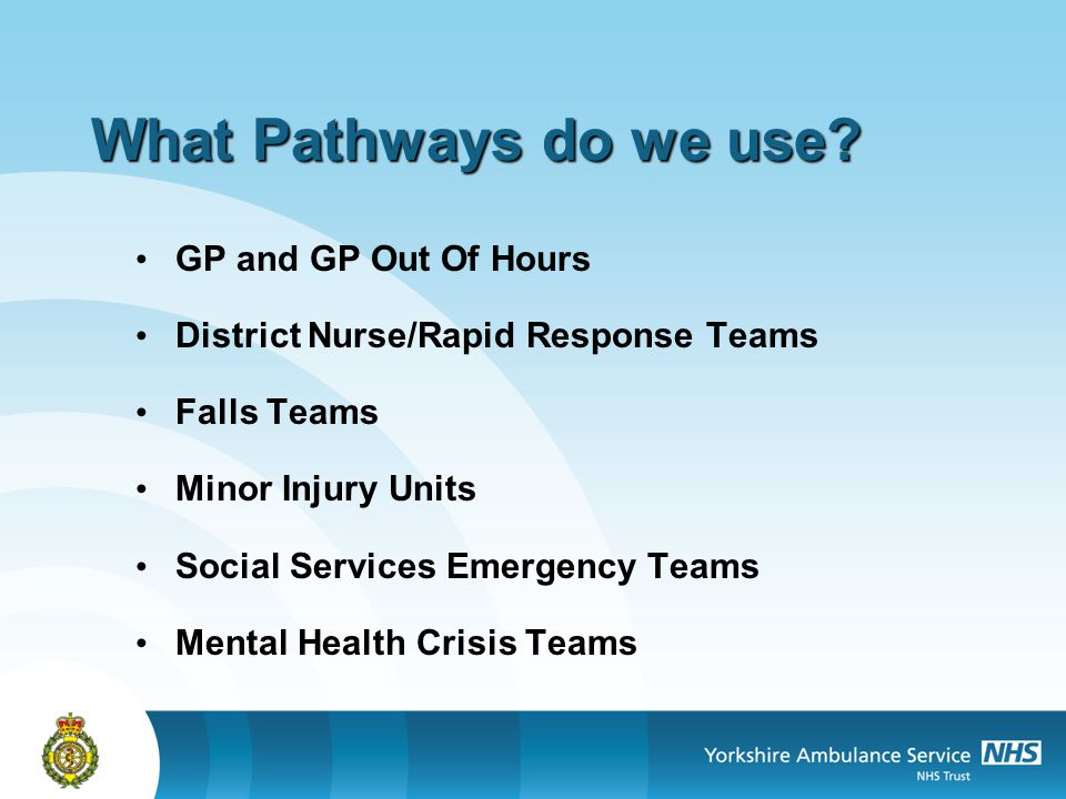 What Pathways do we use GP and GP Out Of Hours