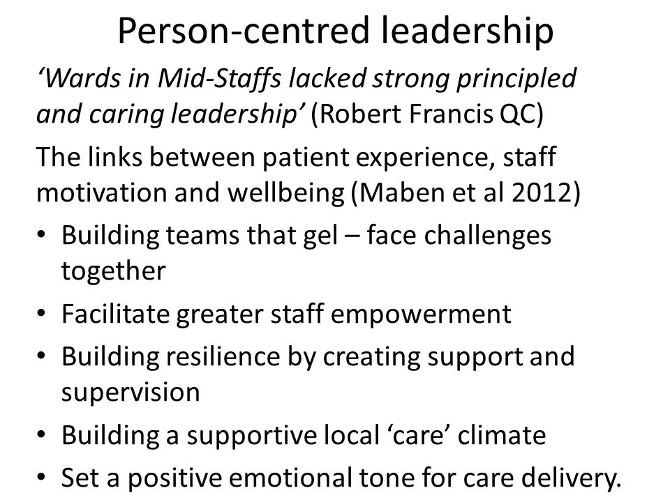 Person-centred leadership