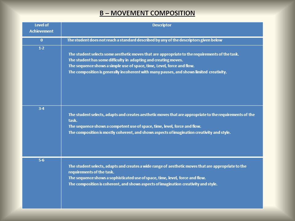 B – MOVEMENT COMPOSITION