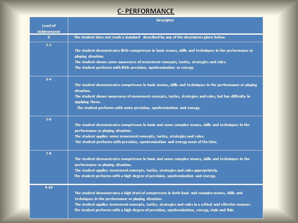 C- PERFORMANCE Level of Achievement Descriptor
