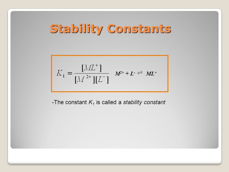 Stability Constants M2+ + L- ML+