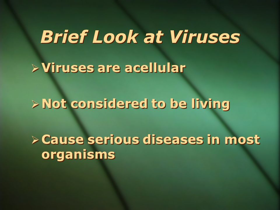Brief Look at Viruses Viruses are acellular