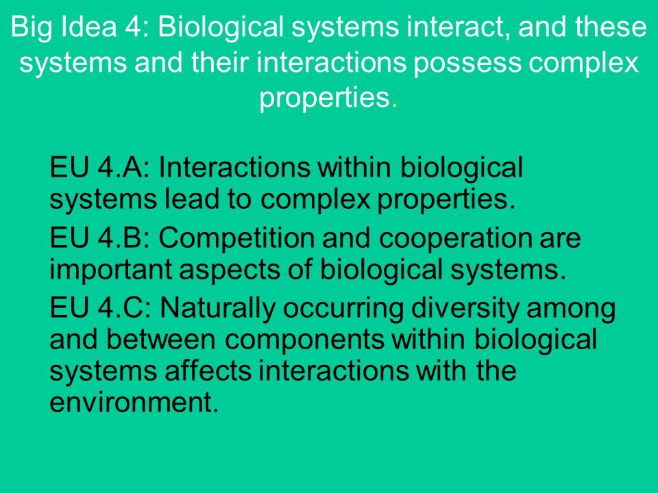 Big Idea 4: Biological systems interact, and these systems and their interactions possess complex properties.