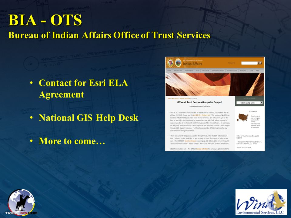 BIA - OTS Bureau of Indian Affairs Office of Trust Services