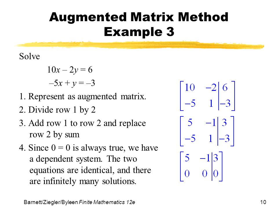 Augmented Matrix Method Example 3