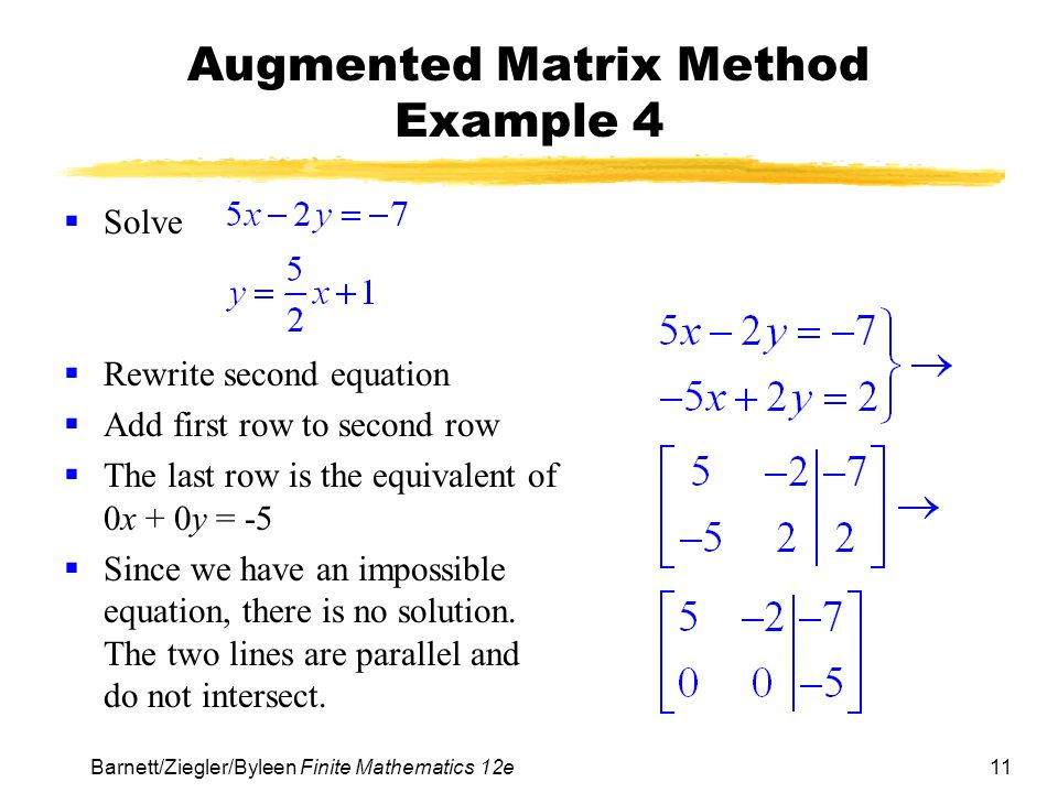 Augmented Matrix Method Example 4