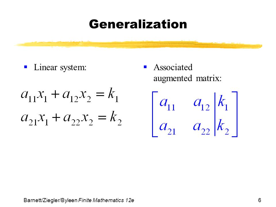 Generalization Linear system: Associated augmented matrix: