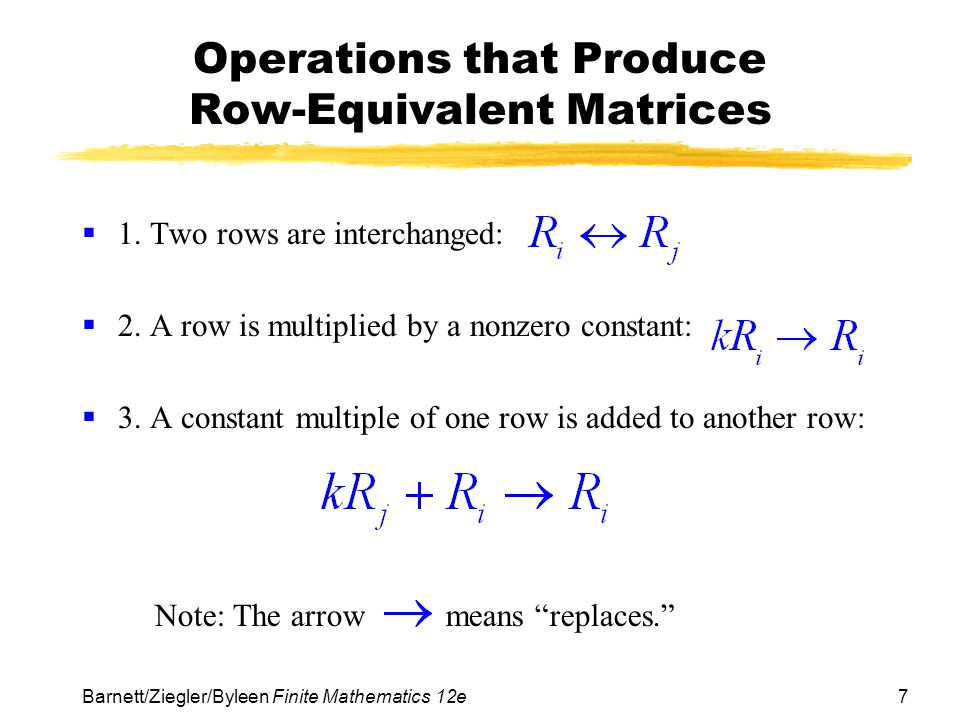 Operations that Produce Row-Equivalent Matrices