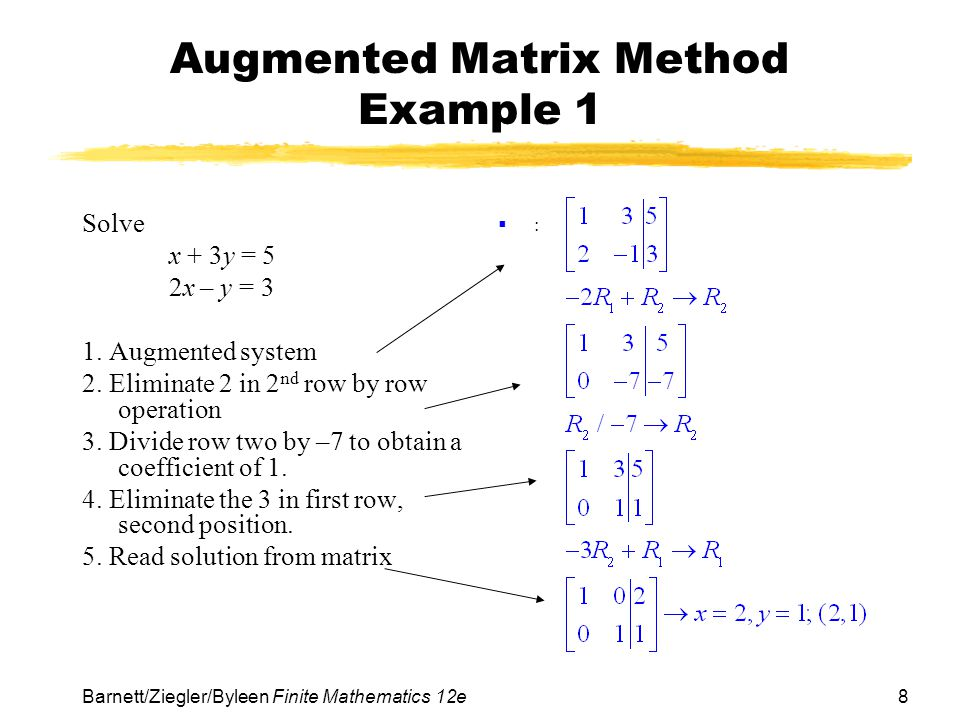 Augmented Matrix Method Example 1