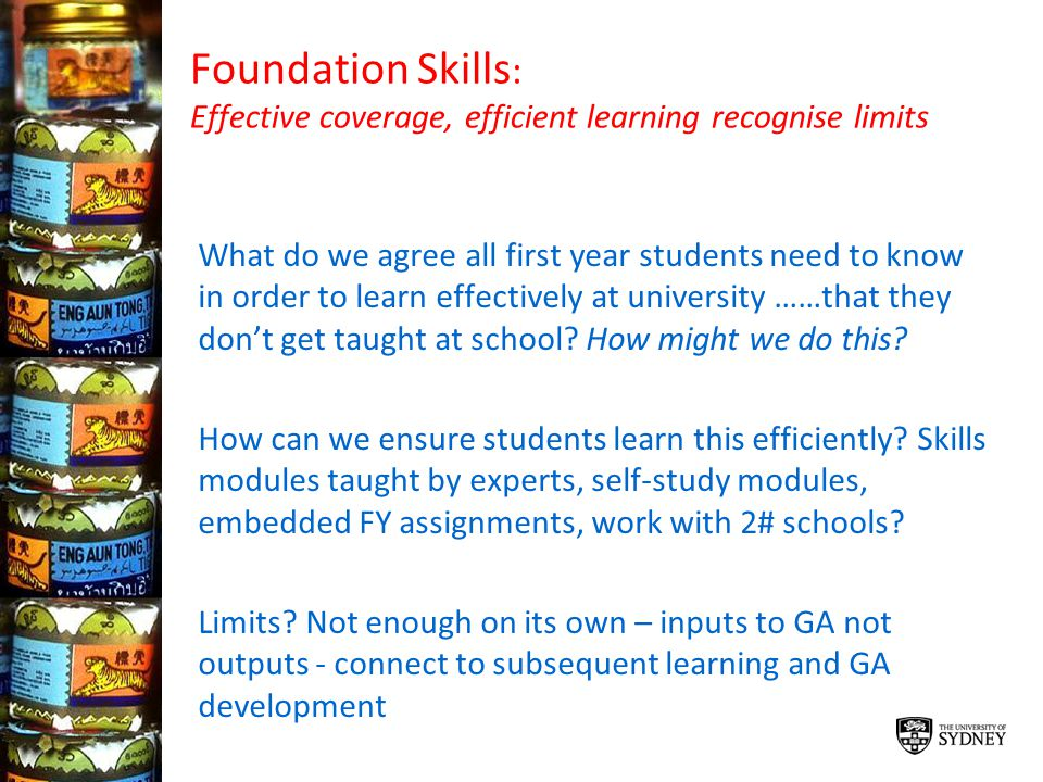 Foundation Skills: Effective coverage, efficient learning recognise limits